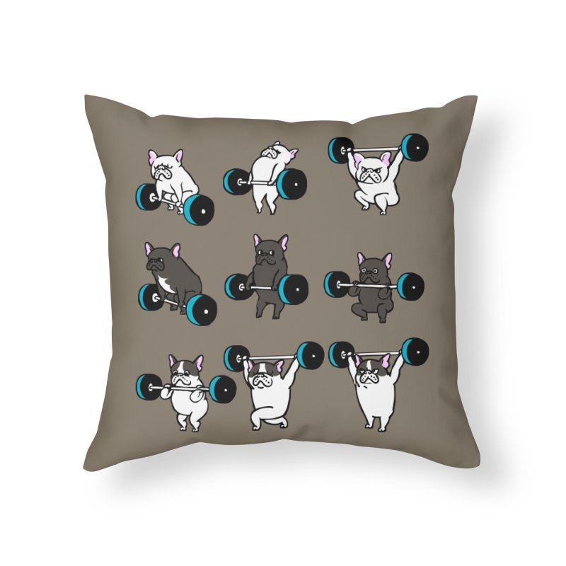 Olympic LIifting  French Bulldog Home Throw Pillow by Pugs Gym's Artist Shop