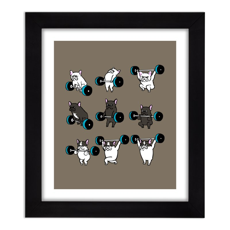 Olympic LIifting  French Bulldog Home Framed Fine Art Print by Pugs Gym's Artist Shop