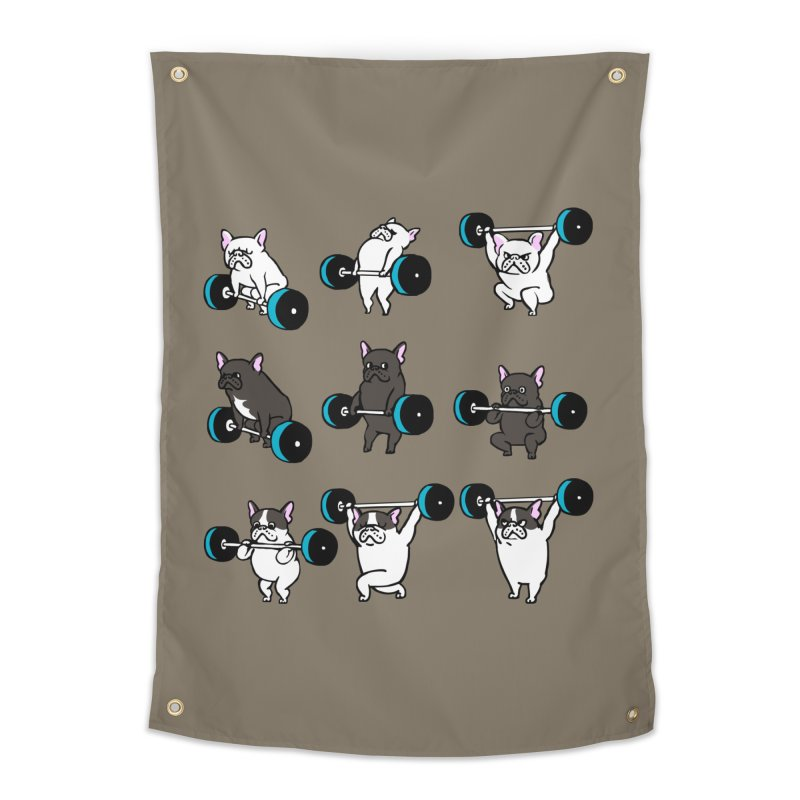 Olympic LIifting  French Bulldog Home Tapestry by Pugs Gym's Artist Shop