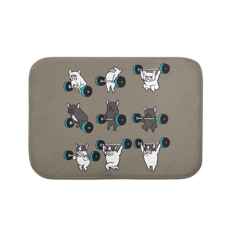Olympic LIifting  French Bulldog Home Bath Mat by Pugs Gym's Artist Shop