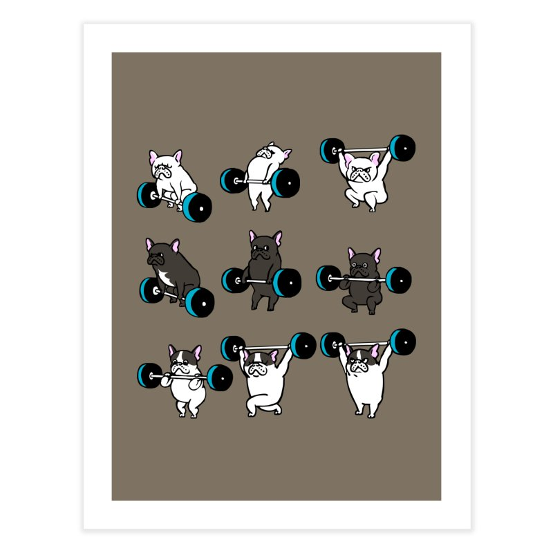 Olympic LIifting  French Bulldog Home Fine Art Print by Pugs Gym's Artist Shop