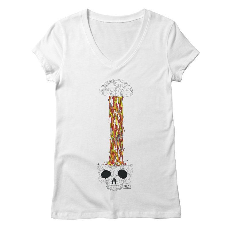 Skull-splah Women's V-Neck by pulce's Artist Shop