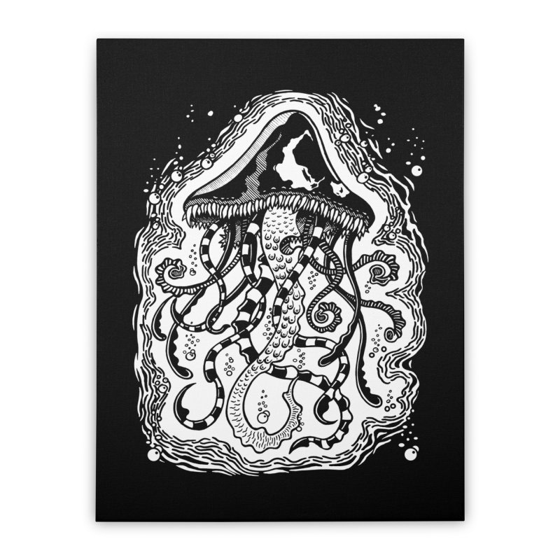 Venom Jellyfish Home Stretched Canvas by punchofpaint's Artist Shop