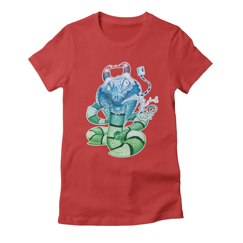 Demon Snake Women's Fitted T-Shirt by punchofpaint's Artist Shop