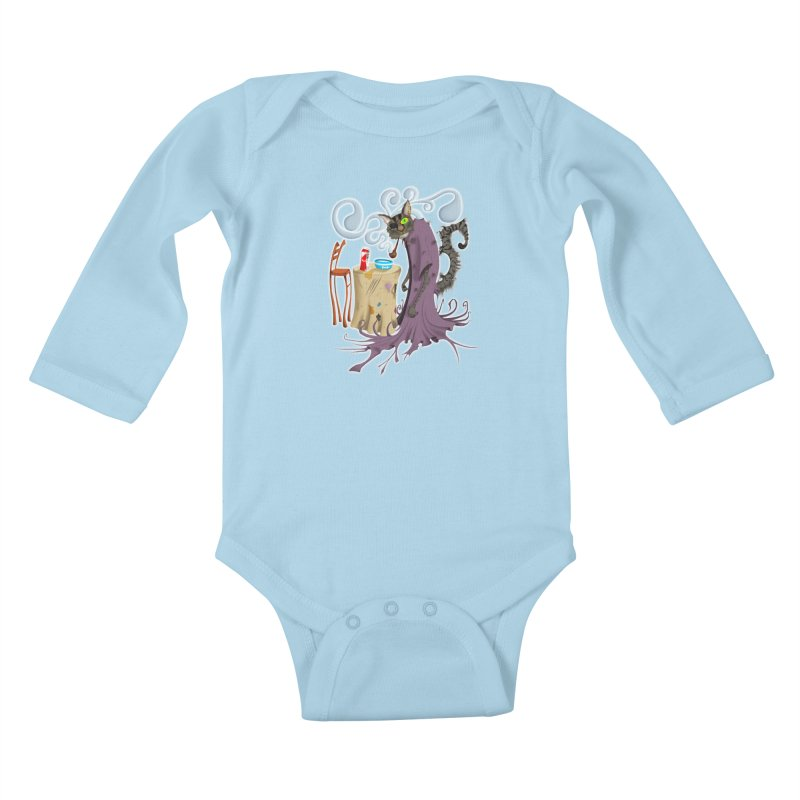 One Eyed Puss Kids Baby Longsleeve Bodysuit by punchofpaint's Artist Shop