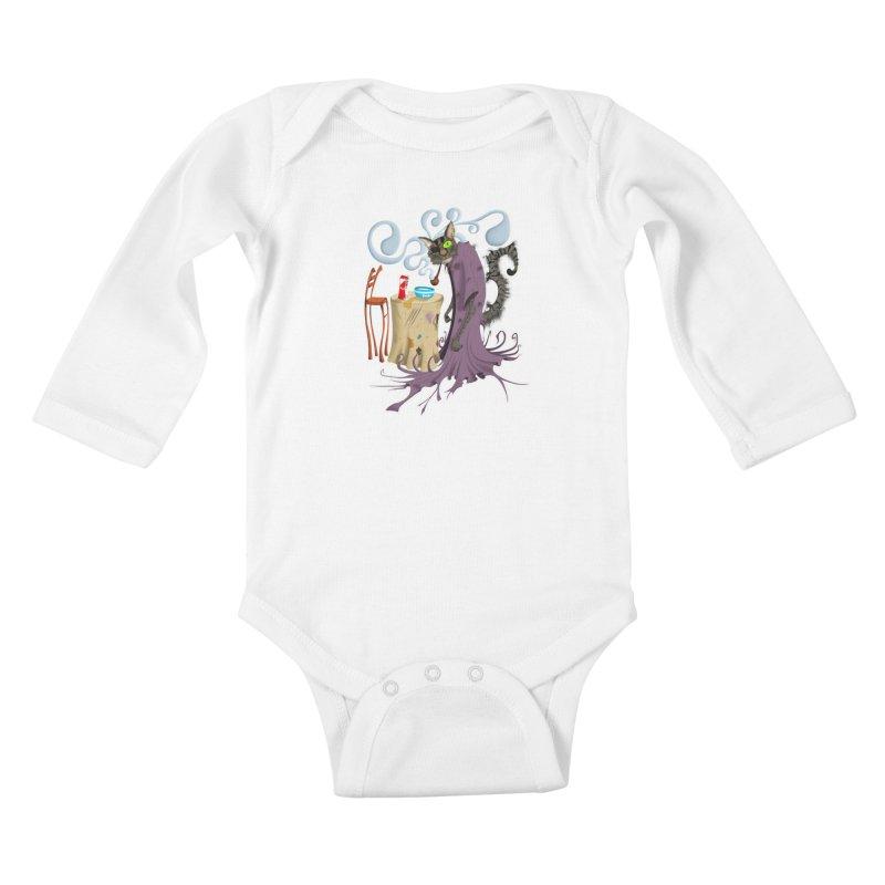 One Eyed Puss Kids Baby Longsleeve Bodysuit by punchofpaint's Artist Shop