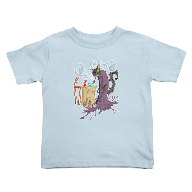 One Eyed Puss Kids Toddler T-Shirt by punchofpaint's Artist Shop