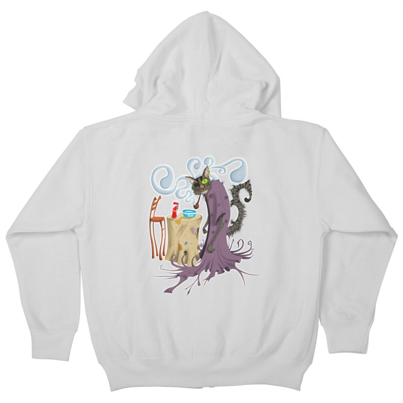 One Eyed Puss Kids Zip-Up Hoody by punchofpaint's Artist Shop