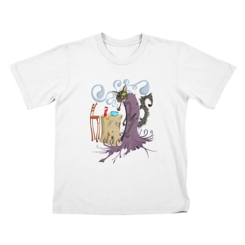 One Eyed Puss Kids T-Shirt by punchofpaint's Artist Shop