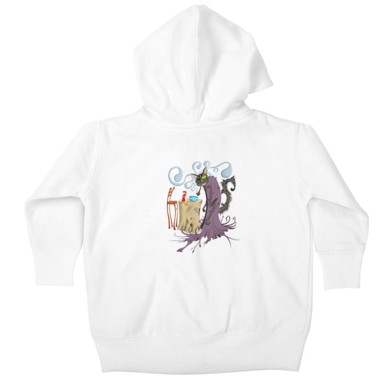 One Eyed Puss Kids Baby Zip-Up Hoody by punchofpaint's Artist Shop