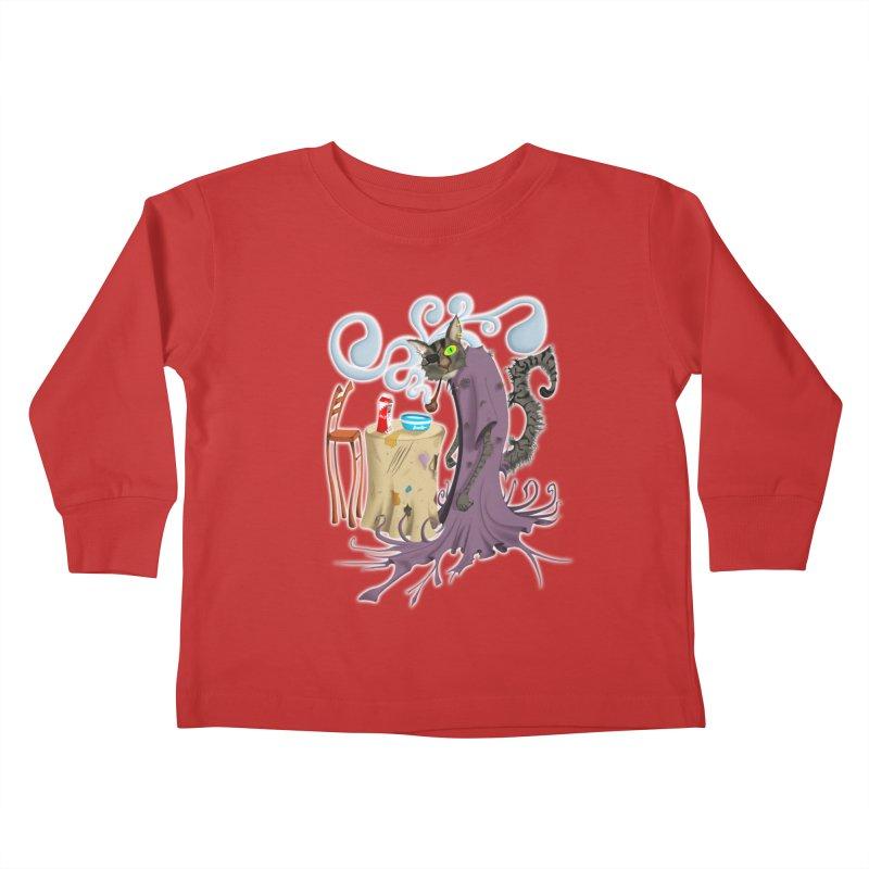 One Eyed Puss Kids Toddler Longsleeve T-Shirt by punchofpaint's Artist Shop