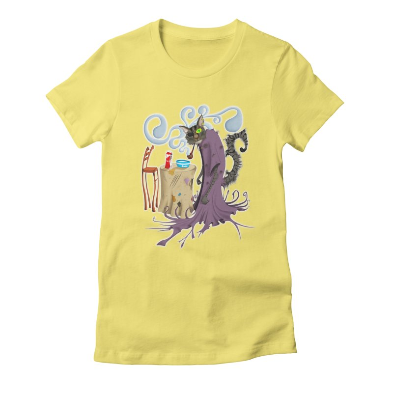 One Eyed Puss Women's Fitted T-Shirt by punchofpaint's Artist Shop