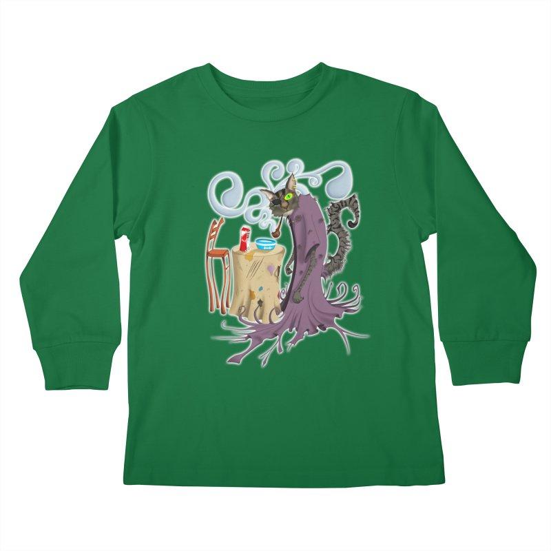 One Eyed Puss Kids Longsleeve T-Shirt by punchofpaint's Artist Shop