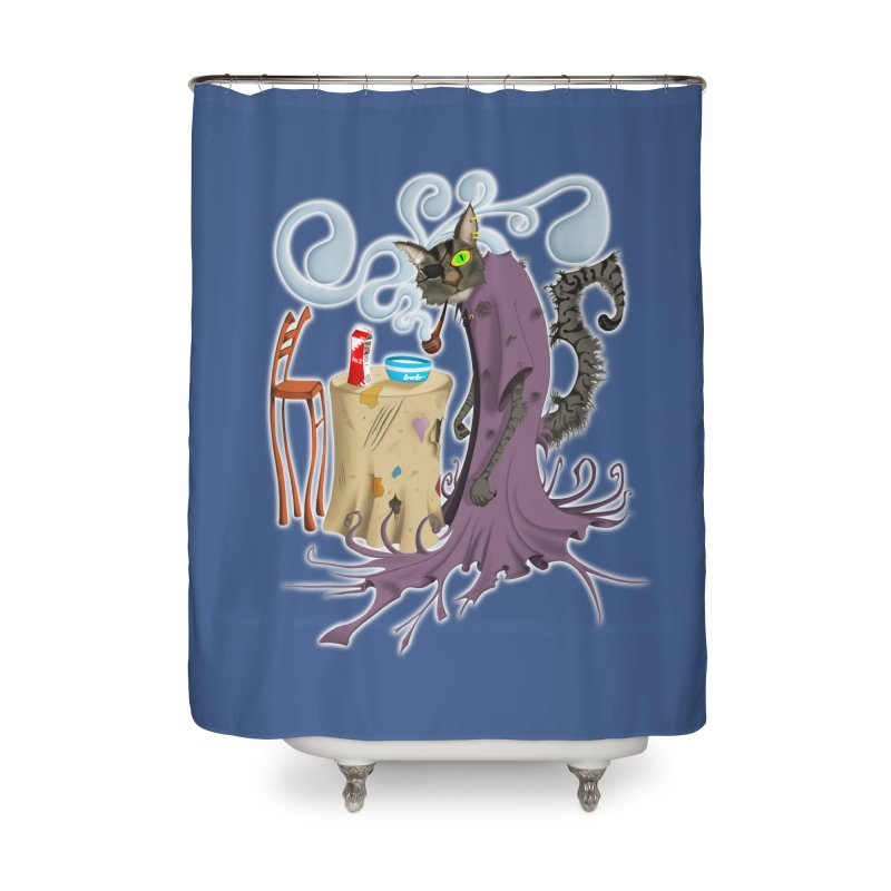 One Eyed Puss Home Shower Curtain by punchofpaint's Artist Shop