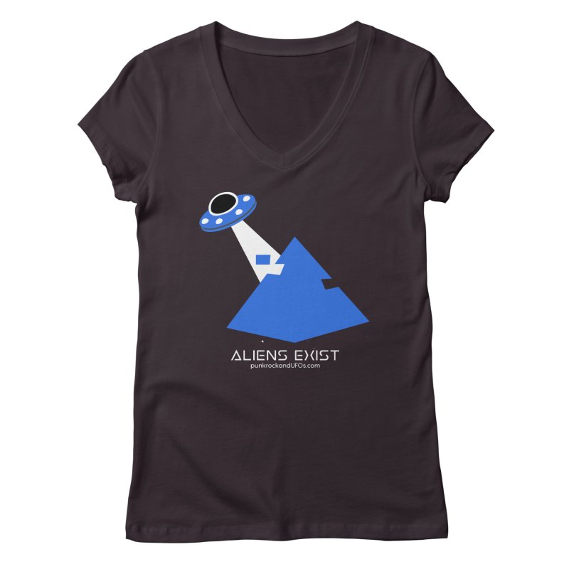 Aliens Exist 2 Women's Regular V-Neck by punkrockandufos's Artist Shop