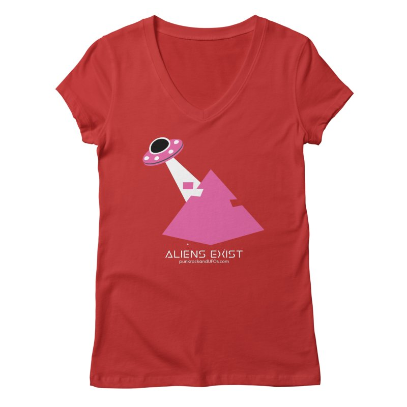 Aliens Exist Women's Regular V-Neck by punkrockandufos's Artist Shop