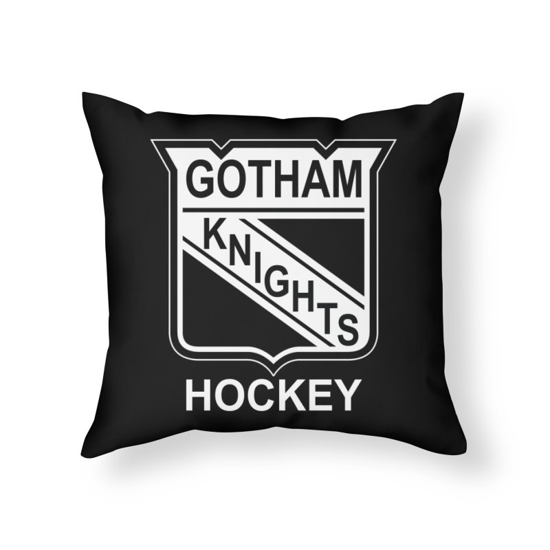 Gotham Knights Hockey Home Throw Pillow by punkrockandufos's Artist Shop