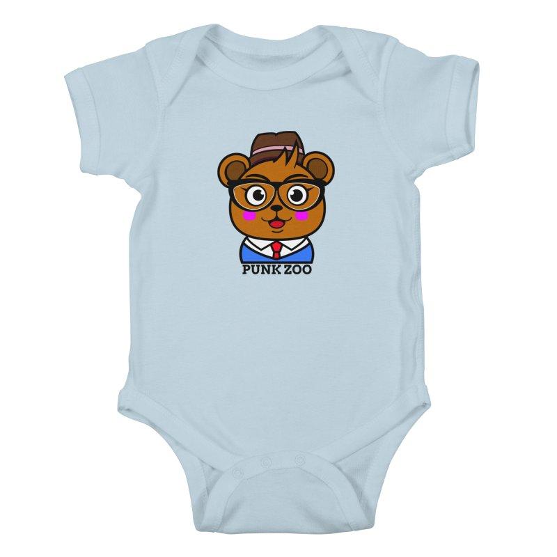 Hipster Bear Kids Baby Bodysuit by punkzoo's Artist Shop