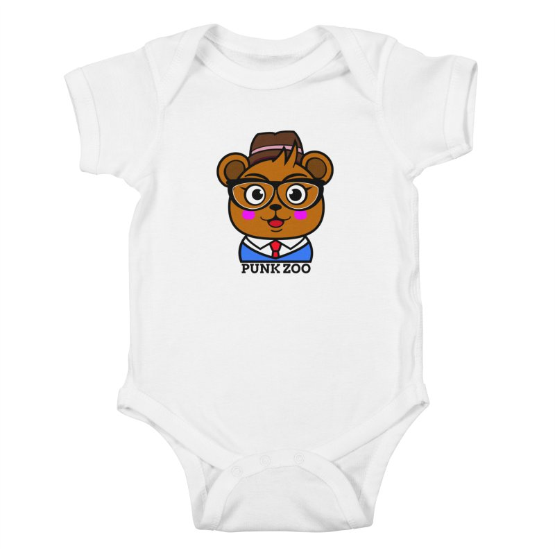 Hipster Bear Kids Baby Bodysuit by punkzoo's Artist Shop