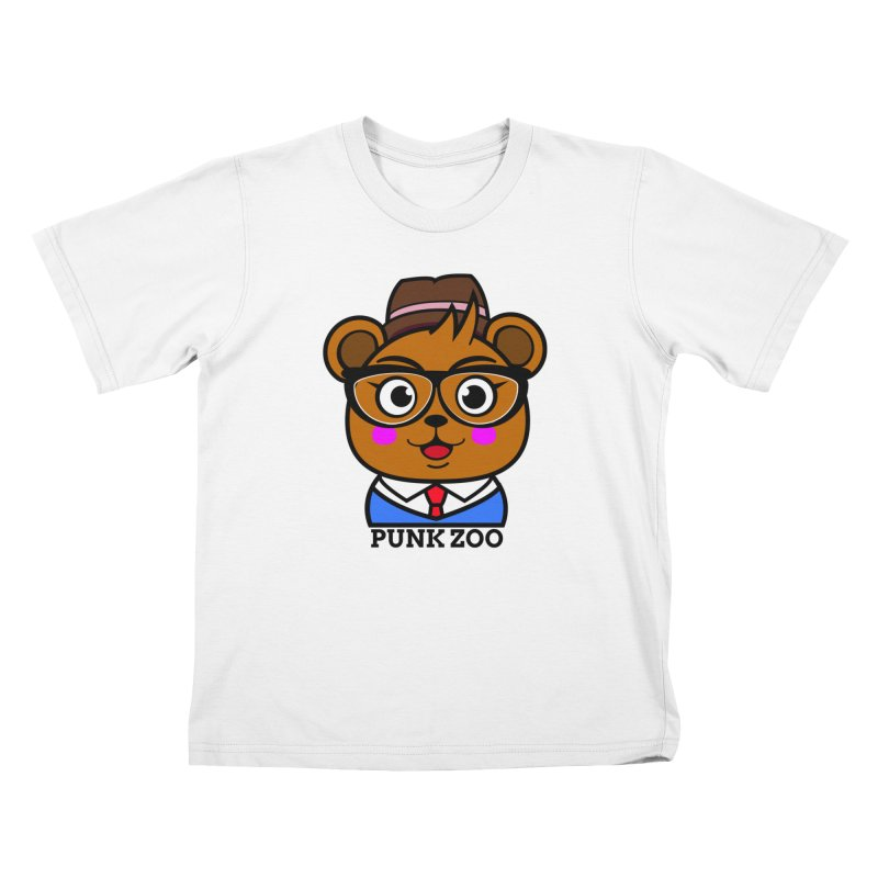 Hipster Bear in Kids T-Shirt White by punkzoo's Artist Shop