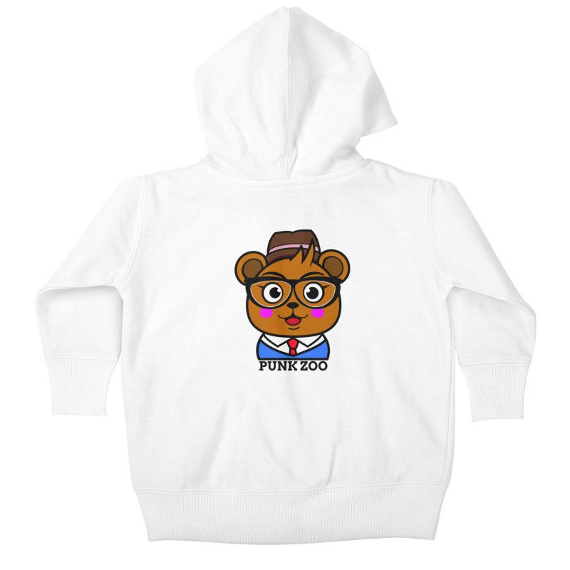 Hipster Bear Kids Baby Zip-Up Hoody by punkzoo's Artist Shop