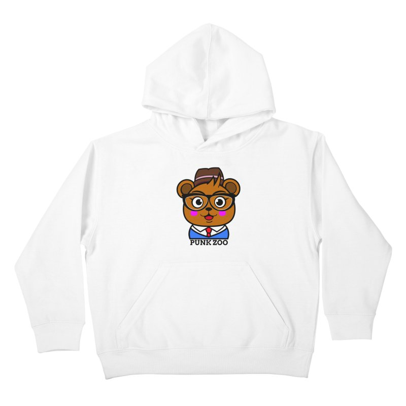 Hipster Bear Kids Pullover Hoody by punkzoo's Artist Shop