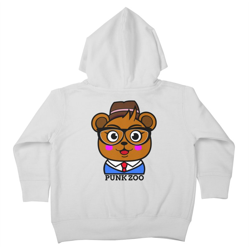 Hipster Bear Kids Toddler Zip-Up Hoody by punkzoo's Artist Shop