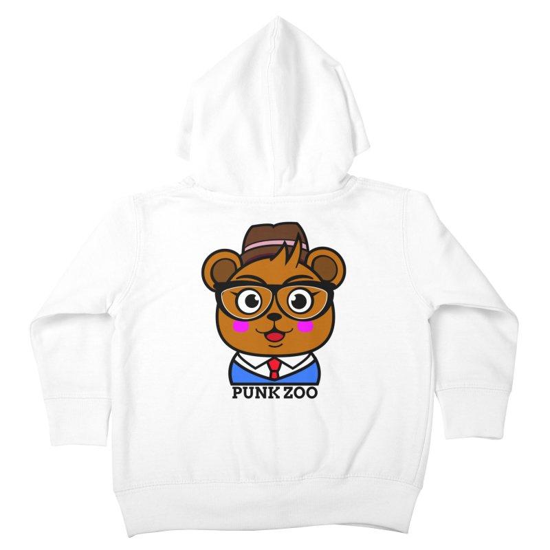 Hipster Bear Kids Toddler Zip-Up Hoody by punkzoo's Artist Shop