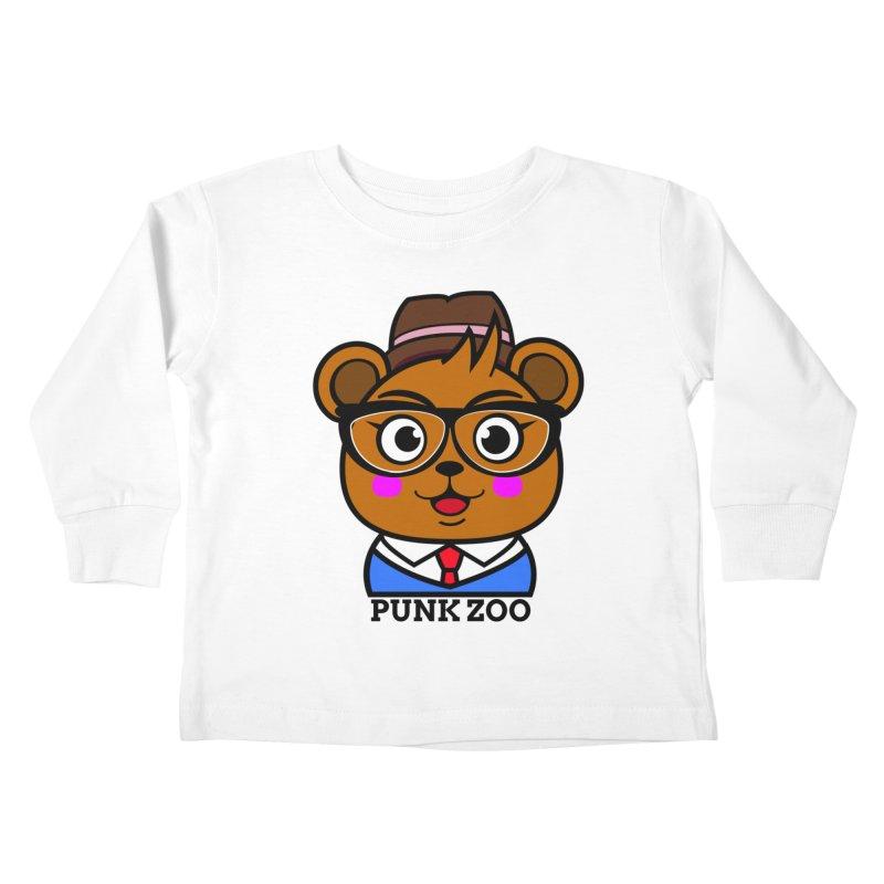 Hipster Bear Kids Toddler Longsleeve T-Shirt by punkzoo's Artist Shop