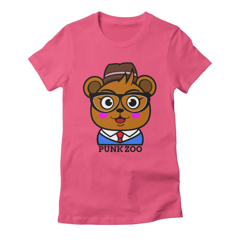 Hipster Bear Women's Fitted T-Shirt by punkzoo's Artist Shop