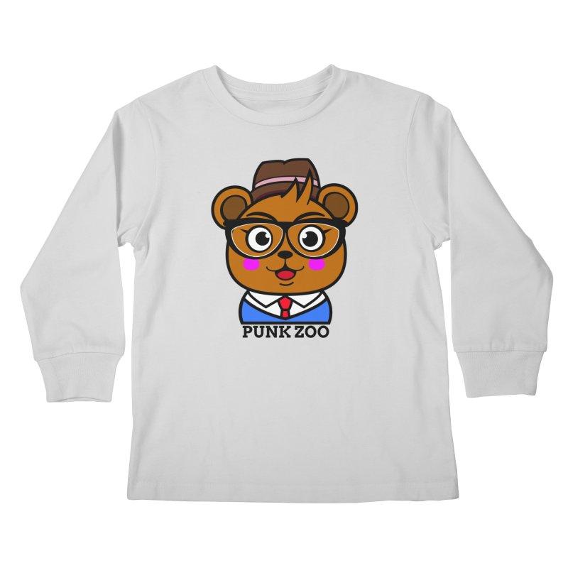 Hipster Bear Kids Longsleeve T-Shirt by punkzoo's Artist Shop