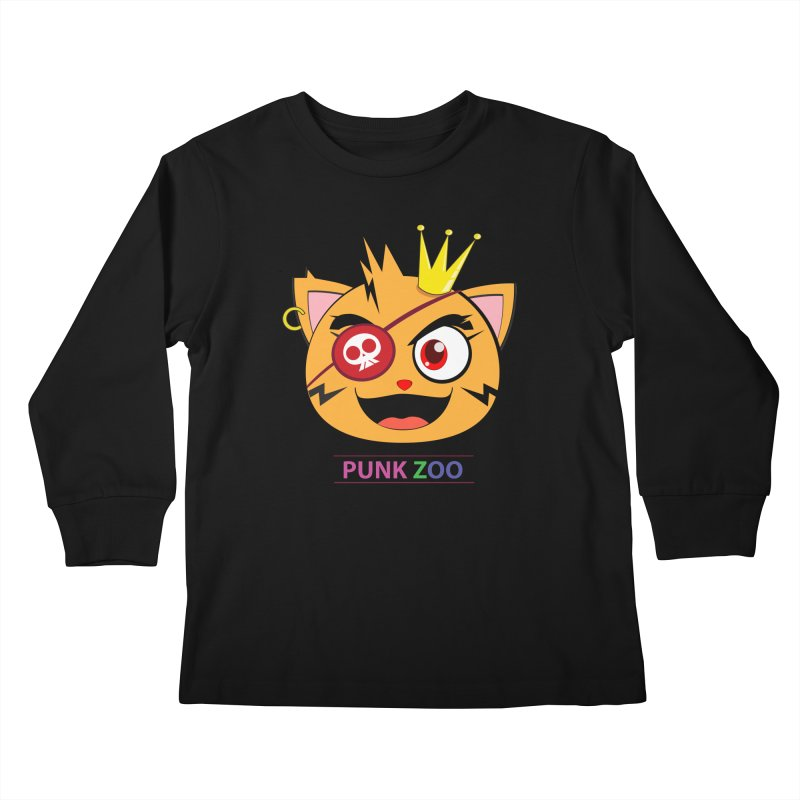 Punk Zoo King Neko Kids Longsleeve T-Shirt by punkzoo's Artist Shop