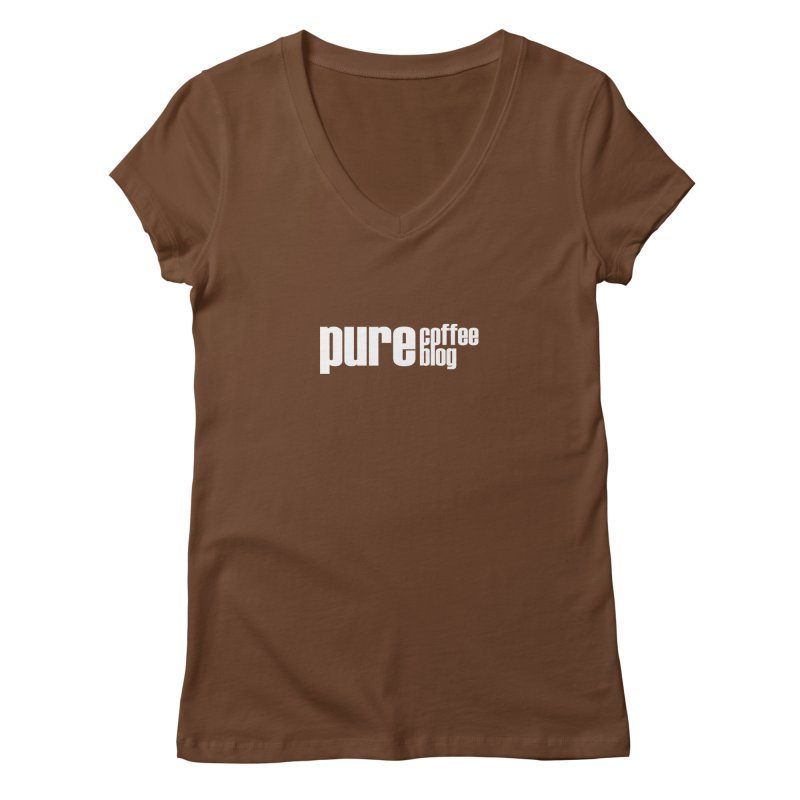 PCB Classic -white text Women's Regular V-Neck by Pure Coffee Blog Shop