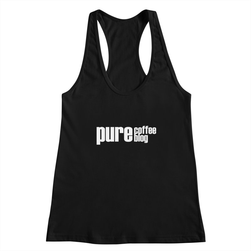 PCB Classic -white text Women's Racerback Tank by Pure Coffee Blog Shop