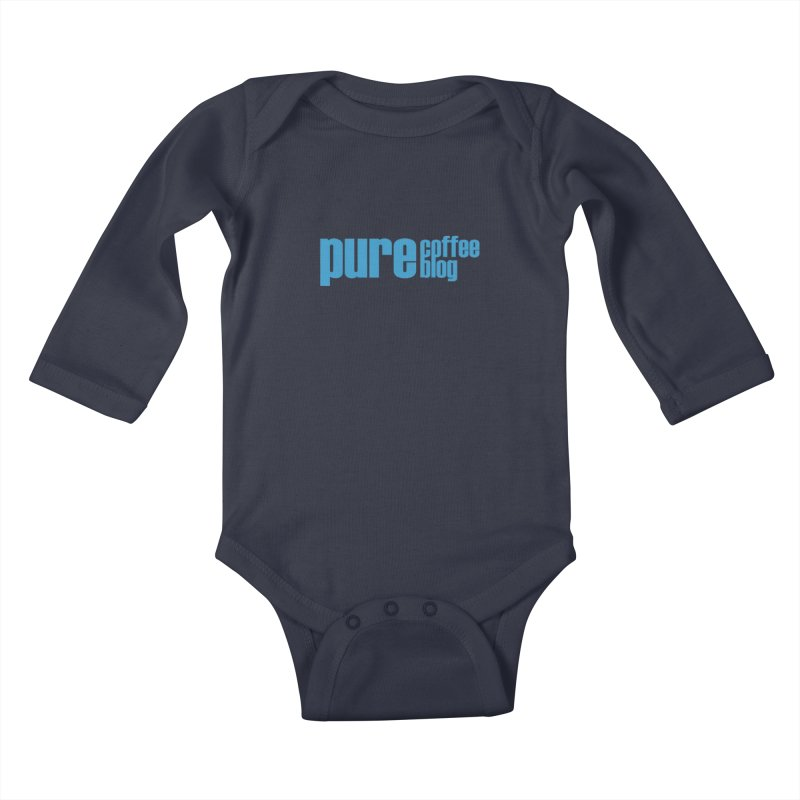 PCB Classic - blue text Kids Baby Longsleeve Bodysuit by Pure Coffee Blog Shop