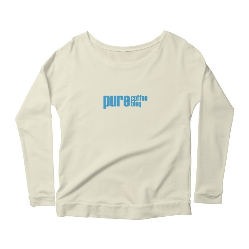 PCB Classic - blue text Women's Scoop Neck Longsleeve T-Shirt by Pure Coffee Blog Shop