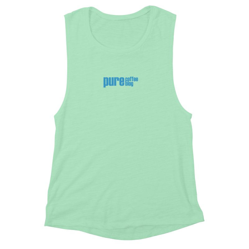 PCB Classic - blue text Women's Muscle Tank by Pure Coffee Blog Shop