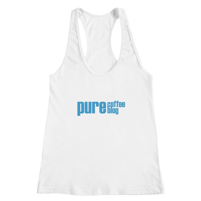 PCB Classic - blue text Women's Racerback Tank by Pure Coffee Blog Shop