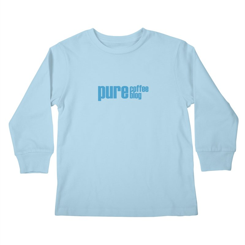 PCB Classic - blue text Kids Longsleeve T-Shirt by Pure Coffee Blog Shop