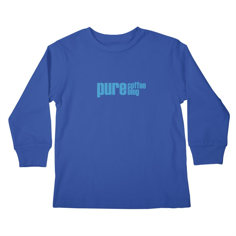 PCB Classic - blue text Kids Longsleeve T-Shirt by Pure Coffee Blog Shop