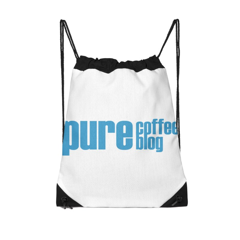 PCB Classic - blue text Accessories Drawstring Bag Bag by Pure Coffee Blog Shop