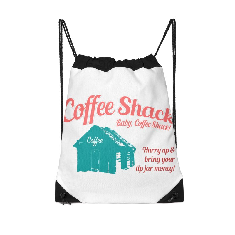Coffee Shack, Baby Coffee Shack! Accessories Drawstring Bag Bag by Pure Coffee Blog Shop