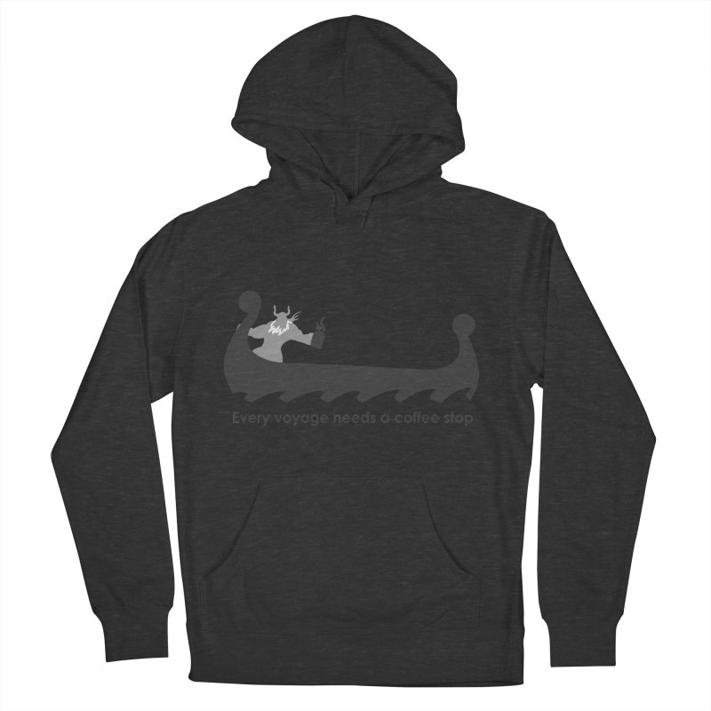 Coffee Voyage - B&W Women's French Terry Pullover Hoody by Pure Coffee Blog Shop
