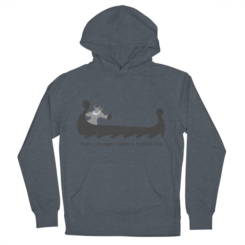 Coffee Voyage - B&W Men's French Terry Pullover Hoody by Pure Coffee Blog Shop