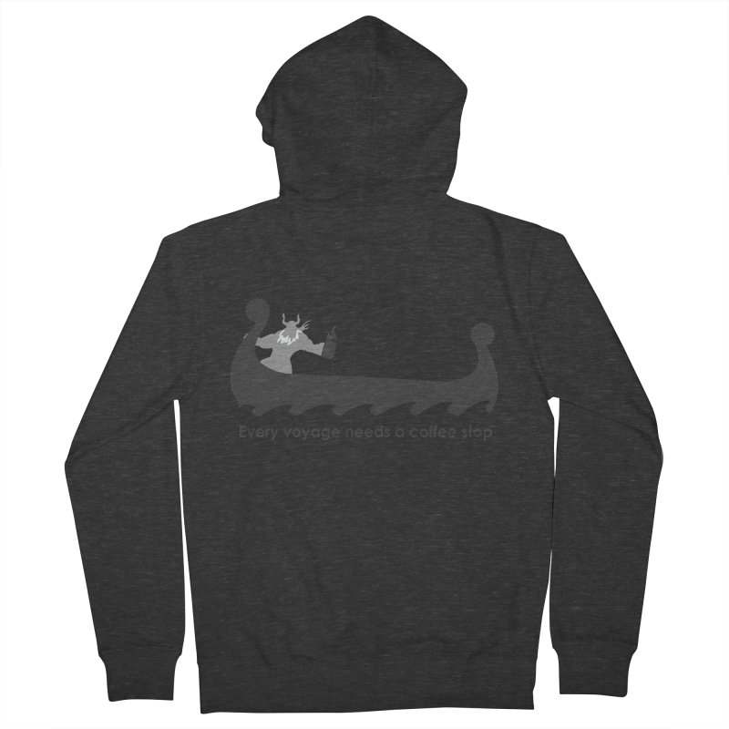 Coffee Voyage - B&W Women's French Terry Zip-Up Hoody by Pure Coffee Blog Shop