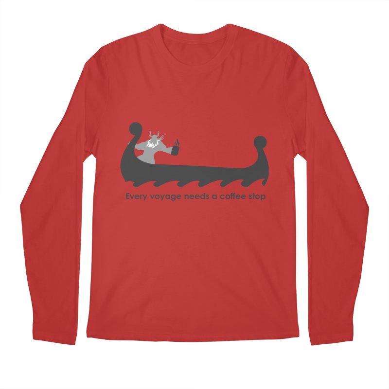Coffee Voyage - B&W Men's Regular Longsleeve T-Shirt by Pure Coffee Blog Shop