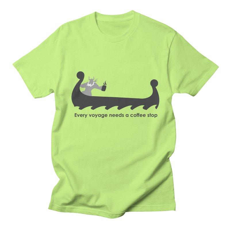 Coffee Voyage - B&W Women's Regular Unisex T-Shirt by Pure Coffee Blog Shop