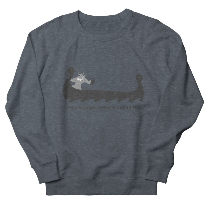 Coffee Voyage - B&W Men's French Terry Sweatshirt by Pure Coffee Blog Shop