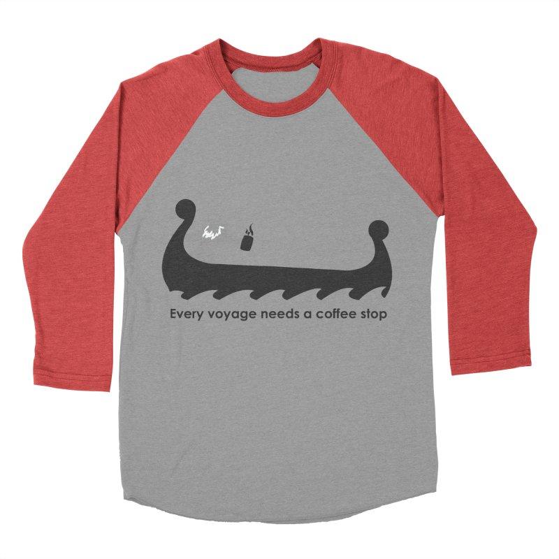 Coffee Voyage - B&W Women's Baseball Triblend Longsleeve T-Shirt by Pure Coffee Blog Shop