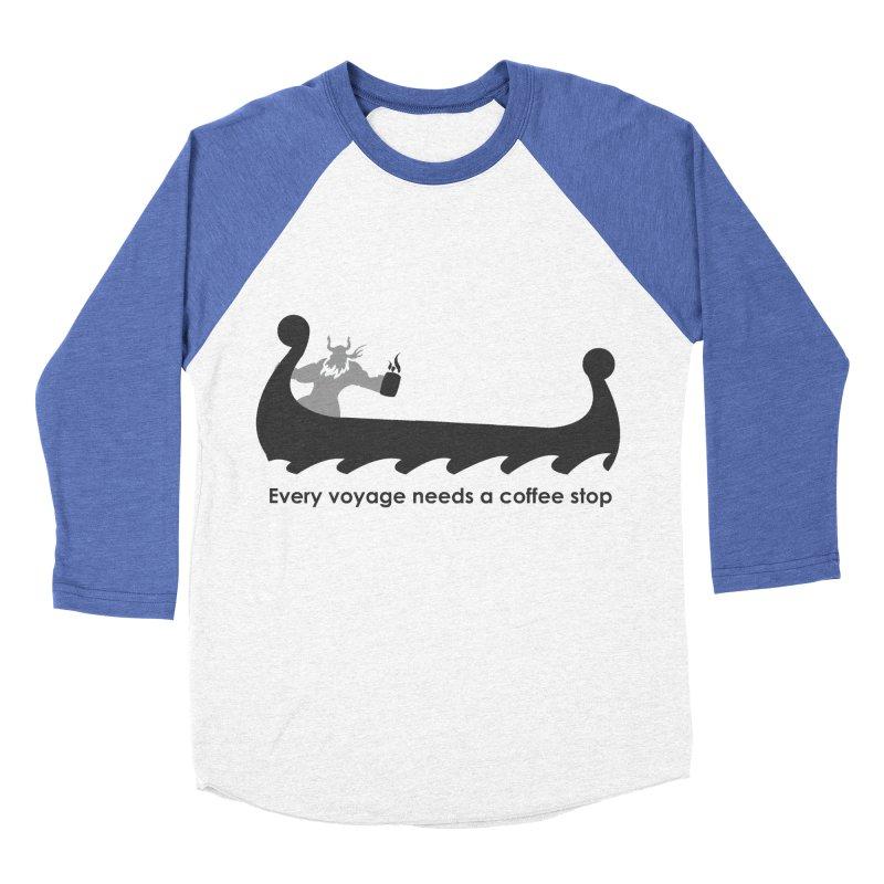 Coffee Voyage - B&W Men's Baseball Triblend Longsleeve T-Shirt by Pure Coffee Blog Shop